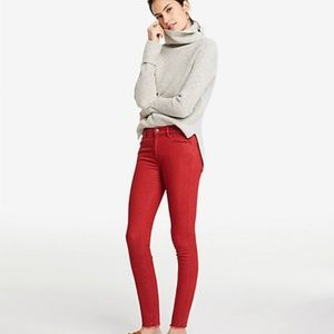 NWT ANN TAYLOR the skinny red fringe jeans 4